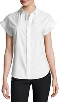 Rag & Bone Ara Short-Sleeve Poplin Tie-Back Blouse, White