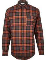 River Island MensOrange casual check shirt