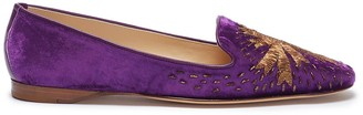 Emma Hope Star embroidered velvet loafers