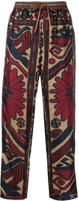 Pierre Louis Mascia Embroidery Pattern Cropped Trousers