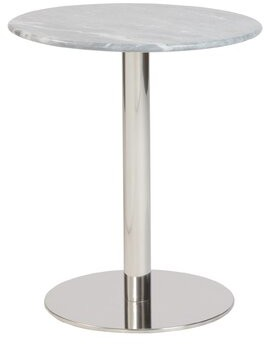 "Mercer41 Kjeld Pedestal Dining Table Table Top Color: Gray, Table Base Color: Stainless Steel, Size: 38"" H x 38"" W x 31"" D"