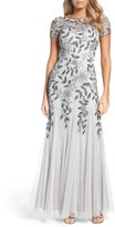 Adrianna Papell Women's Floral Beaded Trumpet Gown