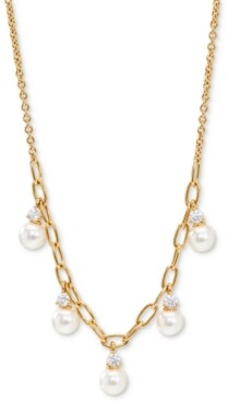 "AVA NADRI Cubic Zirconia & Imitation Pearl Shaky Statement Necklace, 16"" + 2"" extender"