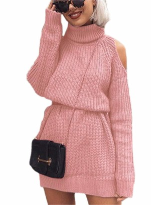 Dokotoo Women's Casual Jumper Turtleneck Cold Shoulder Long Sleeve Solid Color Pullover Sweaters Dress Pink