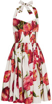 Dolce & Gabbana Floral-print Cotton-poplin Dress - Red