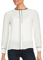 Ellen Tracy Long Sleeved Concealed Button Front Blouse