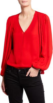 Kobi Halperin Marni Blouson-Sleeve Silk Blouse