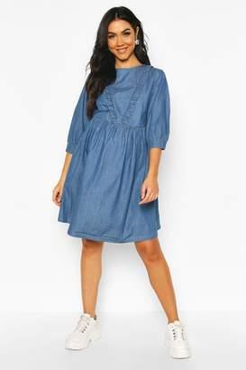 boohoo Maternity Ruffle Detail Smock Denim Dress