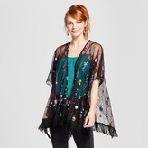 Xhilaration Women's Embroidered Mesh Kimono Juniors') Black