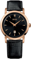 HUGO BOSS Men's Rose-Gold Tone and Black Leather Strap Watch