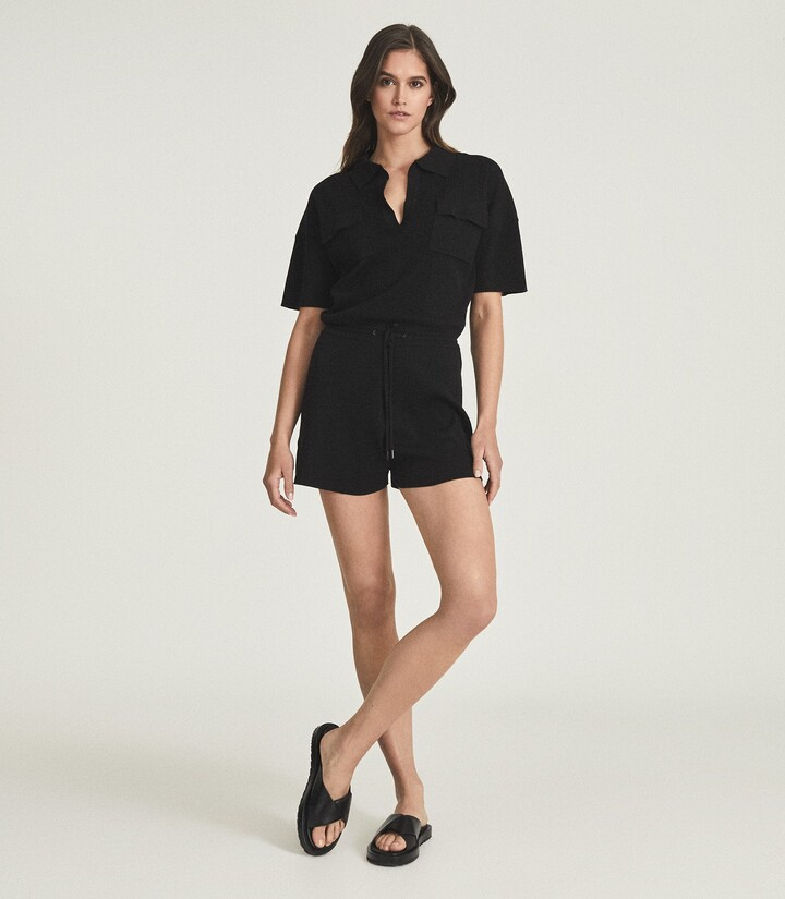 Thumbnail for your product : Reiss Cara - Knitted Twin Pocket Playsuit in Black