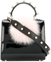 Les Petits Joueurs studded pom pom tote - women - Cotton/Patent Leather - One Size