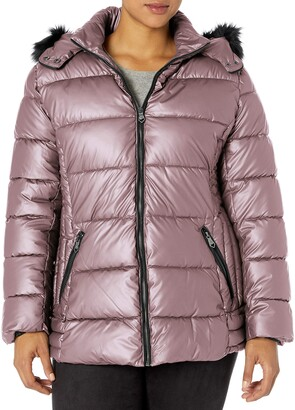 Nanette Lepore Women's Puffer Jacket with Faux Leather