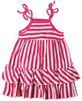 Zutano Fuchsia & White Breton Stripe Tiered Sleeveless Dress - Toddler