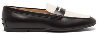 Tod's Square-toe Leather Loafers - Womens - Black White