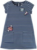 Carter's Girls 4-8 Embroidered Patch Striped Dress