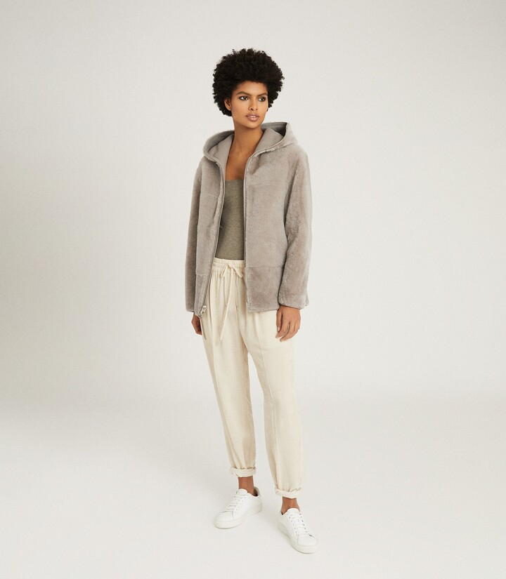 Thumbnail for your product : Reiss Amelia - Reversible Shearling Hooded Coat in Pale Grey