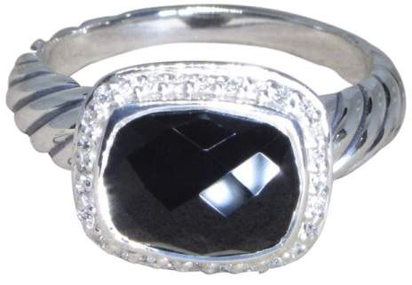 David Yurman Noblesse 925 Sterling Silver with Onyx & Diamond Ring Size 7