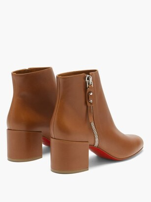 Christian Louboutin Ziptotal 55 Leather Ankle Boots - Tan