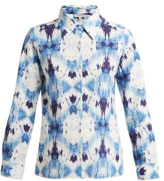 D'Ascoli Abstract Tie Dye Effect Cotton Shirt - Womens - Blue White