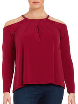 MICHAEL Michael Kors Plus Cold Shoulder Crewneck Blouse