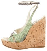 Prada Python Wedge Sandals