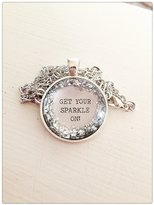 DSD Quote Get your sparkle on silver glitter pendant necklace Kitschy Koo pendant