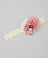 Jean Marie Blush Triple Flower Vintage Lace Headband - Infant & Toddler