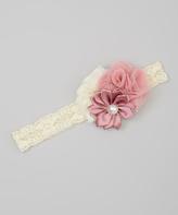 Jean Marie Blush Triple Flower Vintage Lace Headband & Toddler