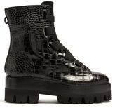 Ellery Sunny crocodile-effect leather platform boots