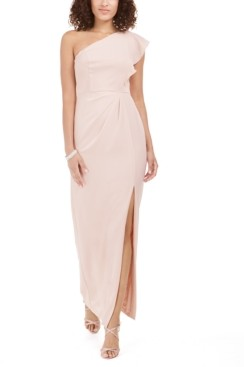 Adrianna Papell Ruffled One-Shoulder Gown