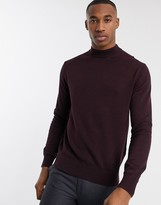 French Connection organic cotton turtle neck in burgundy