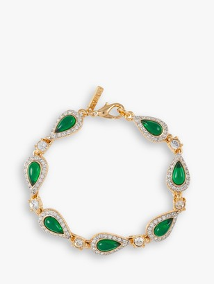 Susan Caplan Vintage D'Orlan 22ct Gold Plated Swarovski Crystal Teardrop Bracelet, Gold/Green