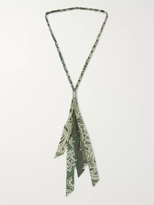 KAPITAL Fringed Bandana-Print Cotton-Gauze Necklace