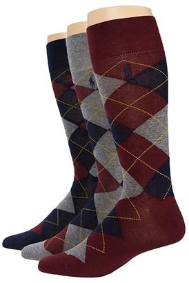 Polo Ralph Lauren Argyle 3-Pack Socks (Black/Grey) Men's Crew Cut Socks Shoes
