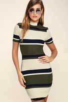 J.o.a. Character Study Olive Green Striped Bodycon Dress
