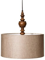 Mudhut Turned Plug-In Pendant Lamp with Natural Linen Shade