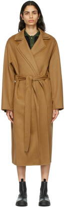 Loewe Tan Wool and Cashmere Double Layer Belted Coat