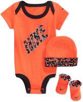 Nike Baby Boys' 3-Piece Orange Bodysuit, Hat & Booties Set