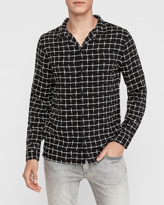 Express Slim Square Print Button-Up Rayon Shirt