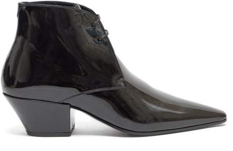 Saint Laurent Bell Lace Up Patent Leather Ankle Boots - Womens - Black