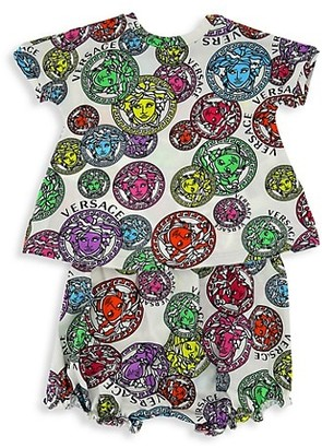 Versace Baby Girl's Stamped Medusa 2-Piece Dress & Bloomers Set