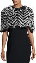Jocelyn Chevron-Pattern Fur Wrap Shrug, Black/Quiet Shade
