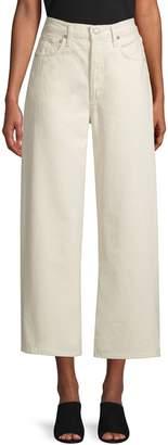 A Gold E Agolde Ren High-Rise Cotton Wide-Leg Cropped Pants