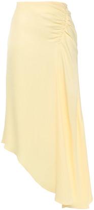 Les Héroïnes Asymmetric Gathered Crepe De Chine Midi Skirt
