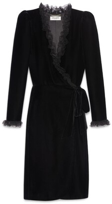 Saint Laurent Velvet Ruffled Wrap Dress