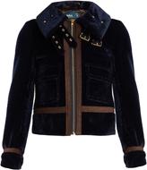 Kolor Cropped faux-fur biker jacket