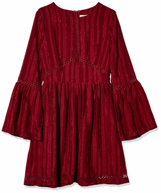 Moon River Women's Bell Sleeve Lace Trim Woven Dress