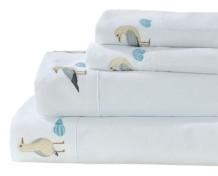 Seaside Resort Seabirds Embroidered Sheet Set, Queen Bedding