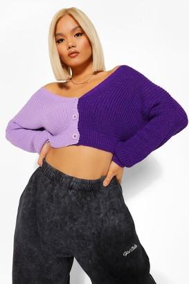 boohoo Petite Colour Block Cardigan